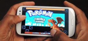 Playing Pokemon game, that is originally for Gameboy device, in a phone.