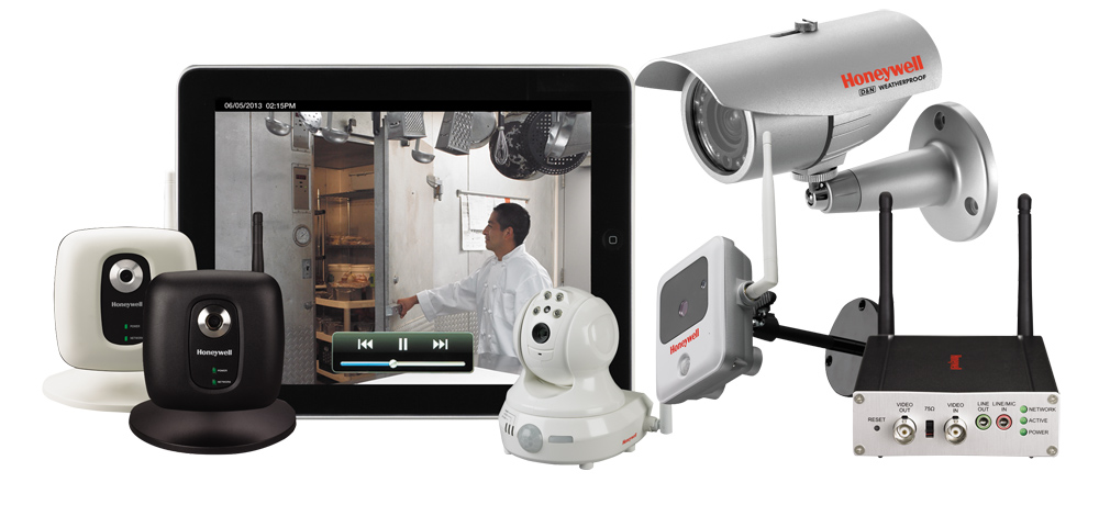 A video surveillance home security system that can detect motion and temperature.